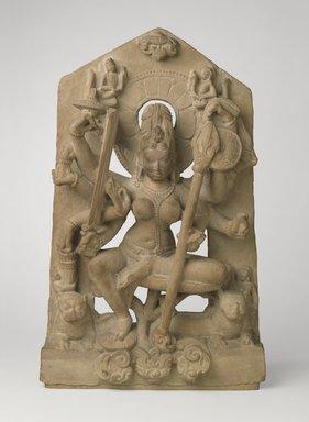 Goddess Durga, 8th century. Sandstone, 25 9/16 x 16 1/8 x 5 1/8 in., 68.5 lb. (65 x 41 x 13 cm, 31.07kg). Brooklyn Museum, Gift of Georgia and Michael de Havenon, 79.254.2. Creative Commons-BY