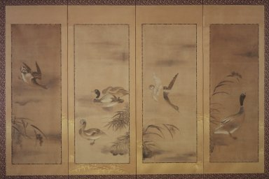 Attributed to Tawaraya Sotatsu (Japanese, active 1600-1643). Waterfowl and Reeds, 18th century or later. Four-panel screen, ink and light color on paper, 24 3/4 x 67 in. (62.9 x 170.2 cm). Brooklyn Museum, Gift of Dr. and Mrs. John Fleming, 79.256. Creative Commons-BY