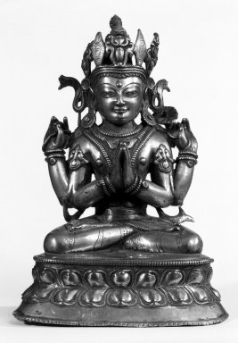 Seated Crowned Avalokitesvara, 13th-15th century. Bronze, 10 1/4 x 7 1/4 in. (26 x 18.4 cm). Brooklyn Museum, Gift of Mr. and Mrs. Edward Greenberg, 79.259.2. Creative Commons-BY