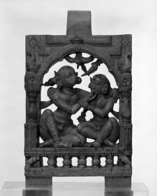 Couple Embracing, 13th-14th century. Carved ivory plaque with polychrome, 3 3/4 in. (9.5 cm). Brooklyn Museum, Gift of Marilyn W. Grounds, 79.260.13. Creative Commons-BY