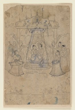 Brooklyn Museum: Radha and Krishna on a Peacock Swing