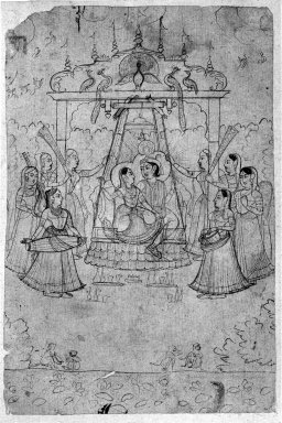 Indian. Radha and Krishna on a Peacock Swing, ca. 1800 or earlier. Ink on paper, sheet: 6 7/8 x 4 1/2 in.  (17.5 x 11.4 cm). Brooklyn Museum, Gift of Marilyn W. Grounds, 79.260.3