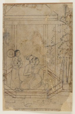 Indian. Nayaka - Nayika, ca. 1725. Black and sepia ink on paper, sheet: 9 1/8 x 6 in.  (23.2 x 15.2 cm). Brooklyn Museum, Gift of Marilyn W. Grounds, 79.260.5