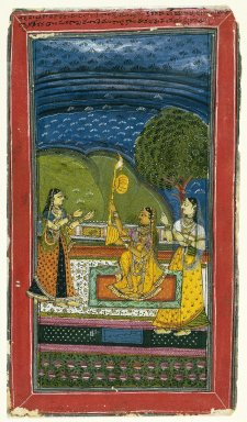 Indian. Mandalika Ragini, Page from a Dispersed Ragamala Series, mid 18th century. Opaque watercolors on paper, sheet: 12 1/4 x 7 in.  (31.1 x 17.8 cm). Brooklyn Museum, Gift of Dr. Farooq Jaffer, 79.266