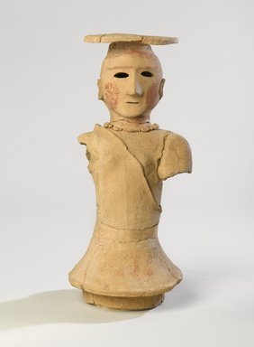 Haniwa Figure of a Shamaness, 5th-6th century. Earthenware with traces of pigment, 18 x 8 3/4 x 7 1/2 in. (45.7 x 22.2 x 19.1 cm). Brooklyn Museum, Gift of Mr. and Mrs. Stanley Marcus, 79.278.1. Creative Commons-BY