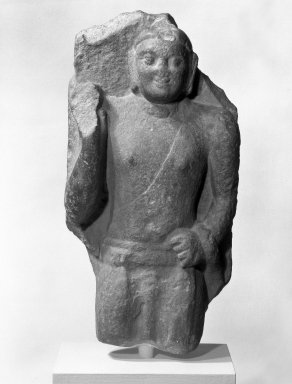 Standing Buddha, 2nd century C.E. Sandstone, 13 1/4 x 6 3/4 in. (33.7 x 17.1 cm). Brooklyn Museum, Gift of Dr. Bertram H. Schaffner, 79.281. Creative Commons-BY