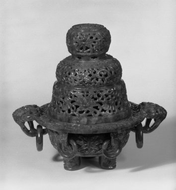 Incense Burner, 19th century. Jade, 7 1/2 x 8 1/4 in. (19.1 x 21 cm). Brooklyn Museum, Gift of Lucile E. Selz, 79.282. Creative Commons-BY