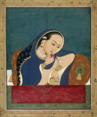 Indian. Intoxicated Lady at a Window, late 18th century. Opaque watercolor and gold on paper, sheet: 13 3/4 x 11 3/8 in.  (34.9 x 28.9 cm). Brooklyn Museum, Gift of Dr. and Mrs. Robert Walzer, 79.285