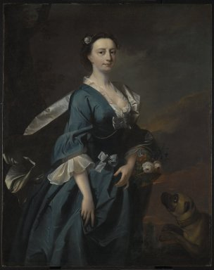 Attributed to Thomas Hudson (British, 1701-1779). Mrs. John Wendt, ca. 1745. Oil on canvas, 50 1/4 x 39 7/8 in. (127.6 x 101.3 cm). Brooklyn Museum, Gift of Kaywin Lehman Smith, 79.290