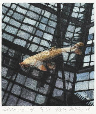Stephen McMillan (American, born 1949). Reflection and Carp, 1978. Hand-colored aquatint on paper, sheet: 18 x 14 7/8 in.  (45.7 x 37.8 cm);. Brooklyn Museum, Gift of ADI Gallery, 79.37.13. © Stephen McMillan