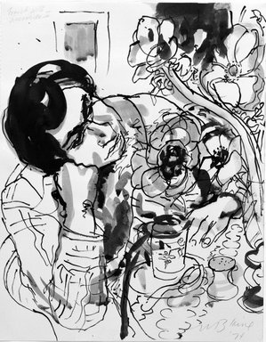 Nell Blaine (American, 1922-1996). Frank with Anemones III, 1974. Ink with wash on paper, 16 x 12 5/8 in. (40.6 x 32.1 cm). Brooklyn Museum, Gift of Elinor Poindexter, 79.49.1. © Nell Blaine