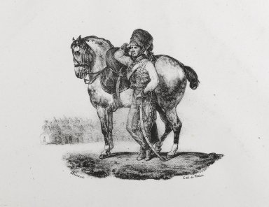 Théodore Géricault (French, 1791-1829). Trompette De Hussards, 1823. Lithograph on wove paper, Image: 4 x 5 in. (10.2 x 12.7 cm). Brooklyn Museum, Designated Purchase Fund, 79.64.2