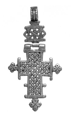 Amhara. Pendant Cross, 19th or 20th century. Silver, 2 5/8 x 1 3/8 in. (6.7 x 3.5 cm). Brooklyn Museum, Gift of George V. Corinaldi Jr., 79.72.22. Creative Commons-BY