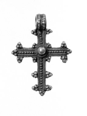 Amhara. Pendant Cross, 19th or 20th century. Silver, 1 7/8 x 1 3/8 in. (4.8 x 3.5 cm). Brooklyn Museum, Gift of George V. Corinaldi Jr., 79.72.28. Creative Commons-BY