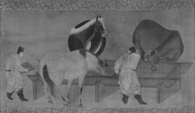 Horses and Grooms (Hanging Scroll), 17th century. Hanging scroll, ink and color on silk, Image: 12 1/2 x 24 7/8 in. (31.8 x 63.2 cm). Brooklyn Museum, Gift of Stanley J. Love, 80.118
