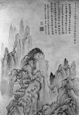 Hua Yan (Chinese, 1682-1765). Landscape, 1727. Ink and light color on paper, Image: 69 1/2 x 14 7/8 in. (176.5 x 37.8 cm). Brooklyn Museum, Anonymous gift, 80.119.1