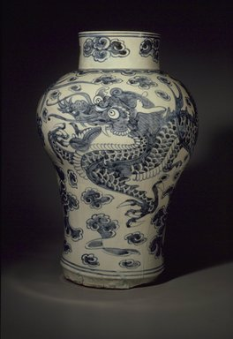 Dragon Jar, late 19th century. Porcelain with cobalt decoration under glaze, 20 x 13in. (50.8 x 33cm). Brooklyn Museum, Gift of Dr. and Mrs. Stanley L. Wallace, 80.120.1. Creative Commons-BY