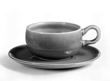 Russel Wright (American, 1904-1976). Cup and Saucer, from 6-Piece Place Setting, Designed 1937; Manufactured ca. 1938. Earthenware, Cup: 1 3/8 x 3 1/2 x 2 1/2 in. (3.5 x 8.9 x 6.4 cm). Brooklyn Museum, Gift of Andrew and Ina Feuerstein, 80.169.7a-b. Creative Commons-BY