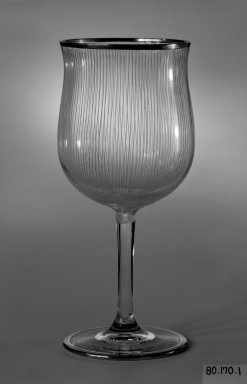 Drinking Vessel, ca. 1930. Colorless and blue glass, height: 6 3/4 in. (17.1 cm); diameter: 3 in. (7.6 cm). Brooklyn Museum, Gift of Mrs. Walter N. Pharr, 80.170.1. Creative Commons-BY