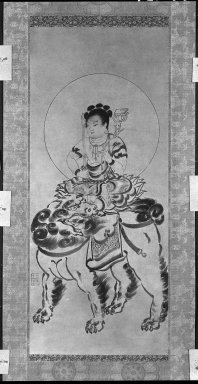 Monju, 16th century. Hanging scroll: Ink on paper, Image: 37 3/8 x 15 3/4 in. (94.9 x 40 cm). Brooklyn Museum, Gift of Bernice and Robert Dickes, 80.176