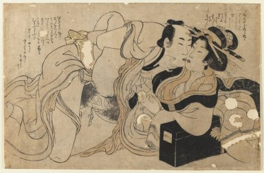 Kitagawa Utamaro (Japanese, 1753-1806). Amorous Couple (woodblock print), ca. 1800. Ink and color on paper, 8 7/8 x 13 5/8 in. (22.5 x 34.6 cm). Brooklyn Museum, Gift of Jack Hentel, 80.177.3