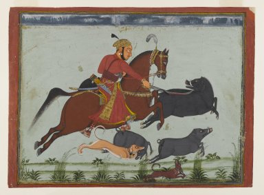 Indian. Maharaja Pratap Singh II of Mewar Hunting Boar, ca. 1750-1775. Opaque watercolor, gold, and silver on paper, sheet: 9 3/4 x 13 5/16 in.  (24.8 x 33.8 cm). Brooklyn Museum, Anonymous gift, 80.180.2