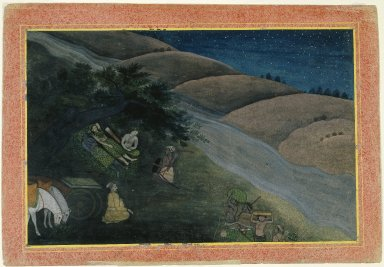 Indian. First Night in Exile, Page from a Dispersed Ramayana Series, ca. 1775-1780. Opaque watercolor on paper, sheet: 9 5/8 x 13 7/8 in.  (24.4 x 35.2 cm). Brooklyn Museum, Gift of Kaywin Lehman Smith, 80.181