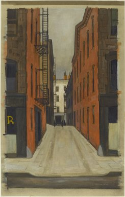 Armin Landeck (American, 1905-1984). Stuyvesant Alley, 1940. Tempera on paper, 29 13/16 x 18 15/16 in. (75.7 x 48.1 cm). Brooklyn Museum, Gift of Mr. and Mrs. Sid Feinberg, 80.190.1. © Estate of Armin Landeck