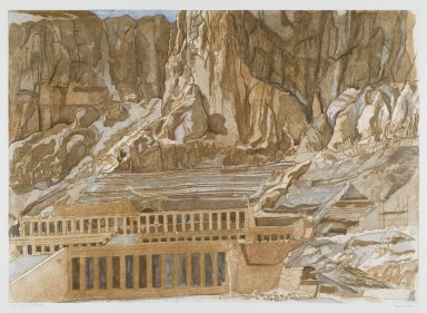 Philip Pearlstein (American, born 1924). Temple of Hatshepsut, 1979. Sugar-lift aquatint and roulette on white wove paper, Plate: 23 7/8 x 33 3/8 in. (60.7 x 84.7 cm). Brooklyn Museum, Gift of Gerald Farber, 80.207.2. © Philip Pearlstein
