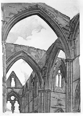 Philip Pearlstein (American, born 1924). Tintern Abbey, 1979. Sugar-lift aquatint and roulette on white wove paper, Plate: 33 3/8 x 23 7/8 in. (84.7 x 60.7 cm). Brooklyn Museum, Gift of Gerald Farber, 80.207.3. © Philip Pearlstein