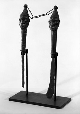 Yoruba. Figurated Staffs (Edan Ogboni), 19th century. Copper alloy, iron, a) 9 in.  b) 9 1/2 in. Brooklyn Museum, Gift of Mr. and Mrs. Uzi Zucker, 80.246a-b. Creative Commons-BY