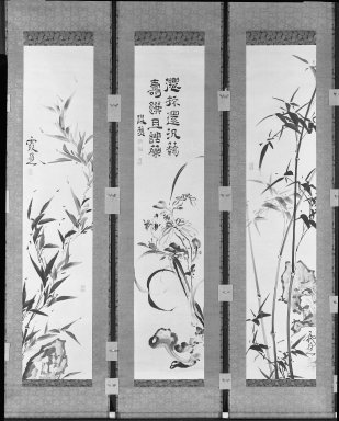 Ike-No Taiga (Japanese, 1723-1776). Bamboo, Chrysanthemums, Orchids, Rocks and Fungus, 18th century. Hanging scroll, ink on paper, (exclusive of mounting): 53 x 11 1/8 in. (134.6 x 28.3 cm). Brooklyn Museum, Gift of Dr. and Mrs. Robert Feinberg, 80.257.2b
