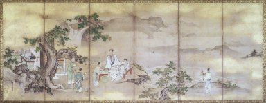Attributed to Kano Tsunenobu (Japanese, 1636-1713). Hsi Wan Mu and Tung Fang-So, ca. 1710. Pair of six-panel screens, ink and color on paper, 23 1/4 x 55 in. (59.1 x 139.7 cm). Brooklyn Museum, Gift of Dr. John Fleming, 80.258a-b. Creative Commons-BY