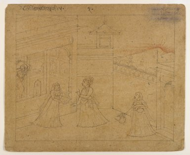 Indian. Lovers Parting at Dawn, ca. 1800. Ink on paper, sheet: 4 1/4 x 5 1/2 in.  (10.8 x 14.0 cm). Brooklyn Museum, Gift of Marilyn W. Grounds, 80.261.11