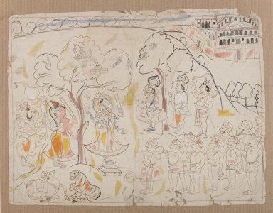 Indian. Rama, Lakshmana, and Hanuman Worshiping Shiva and Durga, ca. 1850. Ink and color on paper, sheet: 10 5/8 x 8 3/8 in.  (27.0 x 21.3 cm). Brooklyn Museum, Gift of Marilyn W. Grounds, 80.261.12