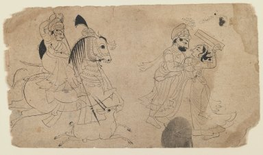 Indian. Raja Hunting/Raja Making Love, ca. 1825. Ink on paper, sheet: 5 1/2 x 9 1/4 in.  (14.0 x 23.5 cm). Brooklyn Museum, Gift of Marilyn W. Grounds, 80.261.13