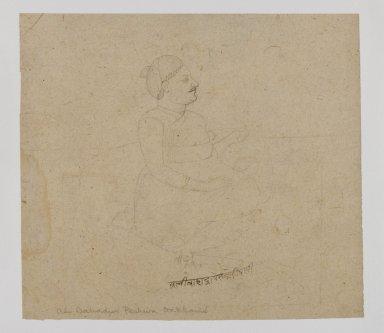 Indian. Portrait of Ali Bahadur Peshvi Dikhani, ca. 1825. Ink on paper, sheet: 5 x 5 1/2 in.  (12.7 x 14.0 cm). Brooklyn Museum, Gift of Marilyn W. Grounds, 80.261.14
