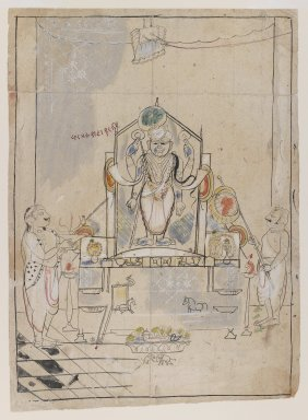 Indian. Worship of Shri Nathaji, ca. 1825-1850. Ink and color on paper, sheet: 13 3/8 x 9 3/4 in.  (34.0 x 24.8 cm). Brooklyn Museum, Gift of Marilyn W. Grounds, 80.261.17