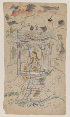 Indian. Gaundmalar of Ganda Malhara Ragini, ca. 1850. Ink and color on paper, sheet: 9 1/8 x 5 1/8 in.  (23.2 x 13.0 cm). Brooklyn Museum, Gift of Marilyn W. Grounds, 80.261.18