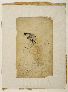 Indian. Bejewled Maharaja, ca. 1740-1750. Ink and color on paper, sheet: 8 1/2 x 5 1/8 in.  (21.6 x 13 cm). Brooklyn Museum, Gift of Marilyn W. Grounds, 80.261.19
