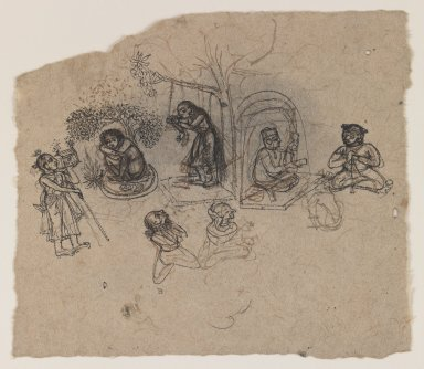 Indian. Figure Studies, ca. 1750. Ink on paper, pounced for transfer, sheet: 5 x 5 7/8 in.  (12.7 x 14.9 cm). Brooklyn Museum, Gift of Marilyn W. Grounds, 80.261.20