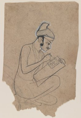 Indian. Artist Sketching, ca. 1800. Ink with white outline on paper, sheet: 5 3/8 x 3 1/2 in.  (13.7 x 8.9 cm). Brooklyn Museum, Gift of Marilyn W. Grounds, 80.261.21
