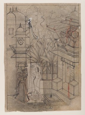 Indian. Raja on a Balcony Viewing a Lady at her Toilette, ca. 1770. Ink with orange highlights on paper, pounced for transfer, sheet: 11 3/8 x 8 in.  (28.9 x 20.3 cm). Brooklyn Museum, Gift of Marilyn W. Grounds, 80.261.22