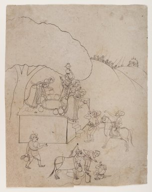 Indian. Ladies at a Well Aiding a Traveler, ca. 1770. Ink on paper, sheet: 12 5/8 x 9 3/4 in.  (32.1 x 24.8 cm). Brooklyn Museum, Gift of Marilyn W. Grounds, 80.261.23