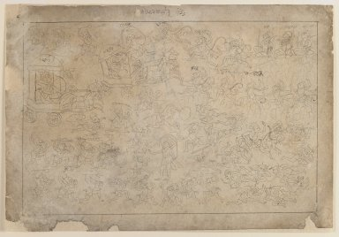 Indian. Battle Scene, Scene from a Ramayana Series, ca. 1735. Ink on paper, sheet: 7 3/4 x 11 1/4 in.  (19.7 x 28.6 cm). Brooklyn Museum, Gift of Marilyn W. Grounds, 80.261.24