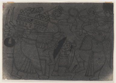 Indian. Ramayana Scene, ca. 1850. Ink on paper, pounced for transfer, sheet: 8 3/8 x 12 in.  (21.3 x 30.5 cm). Brooklyn Museum, Gift of Marilyn W. Grounds, 80.261.25