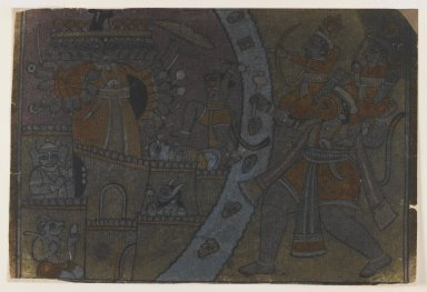 Indian. Ramayana Scene, ca. 1850. Ink on paper, pounced for transfer, sheet: 8 1/4x 12 1/2 in.  (21.3 x 30.5 cm). Brooklyn Museum, Gift of Marilyn W. Grounds, 80.261.26