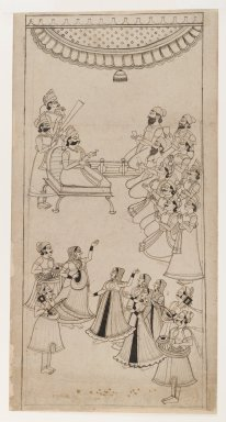 Indian. Raja Enthroned with Courtiers, Musicians, and Nautch Girls in Attendance, ca. 1750. Ink with gray wash on paper, sheet: 17 1/4 x 8 7/8 in.  (43.8 x 22.5 cm). Brooklyn Museum, Gift of Marilyn W. Grounds, 80.261.27