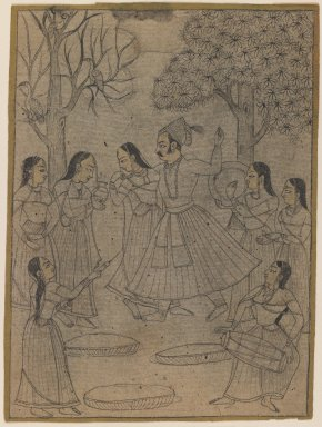 Indian. Raja and Ladies at Holi Festival, ca. 1725. Ink with color on paper, pounced for transfer, sheet: 7 3/16 x 5 3/8 in.  (18.3 x 13.7 cm). Brooklyn Museum, Gift of Marilyn W. Grounds, 80.261.28