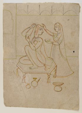 Indian. Radha at her Toilette, ca. 1725. Ink and color on paper, sheet: 8 1/8 x 5 3/4 in.  (20.6 x 14.6 cm). Brooklyn Museum, Gift of Marilyn W. Grounds, 80.261.2